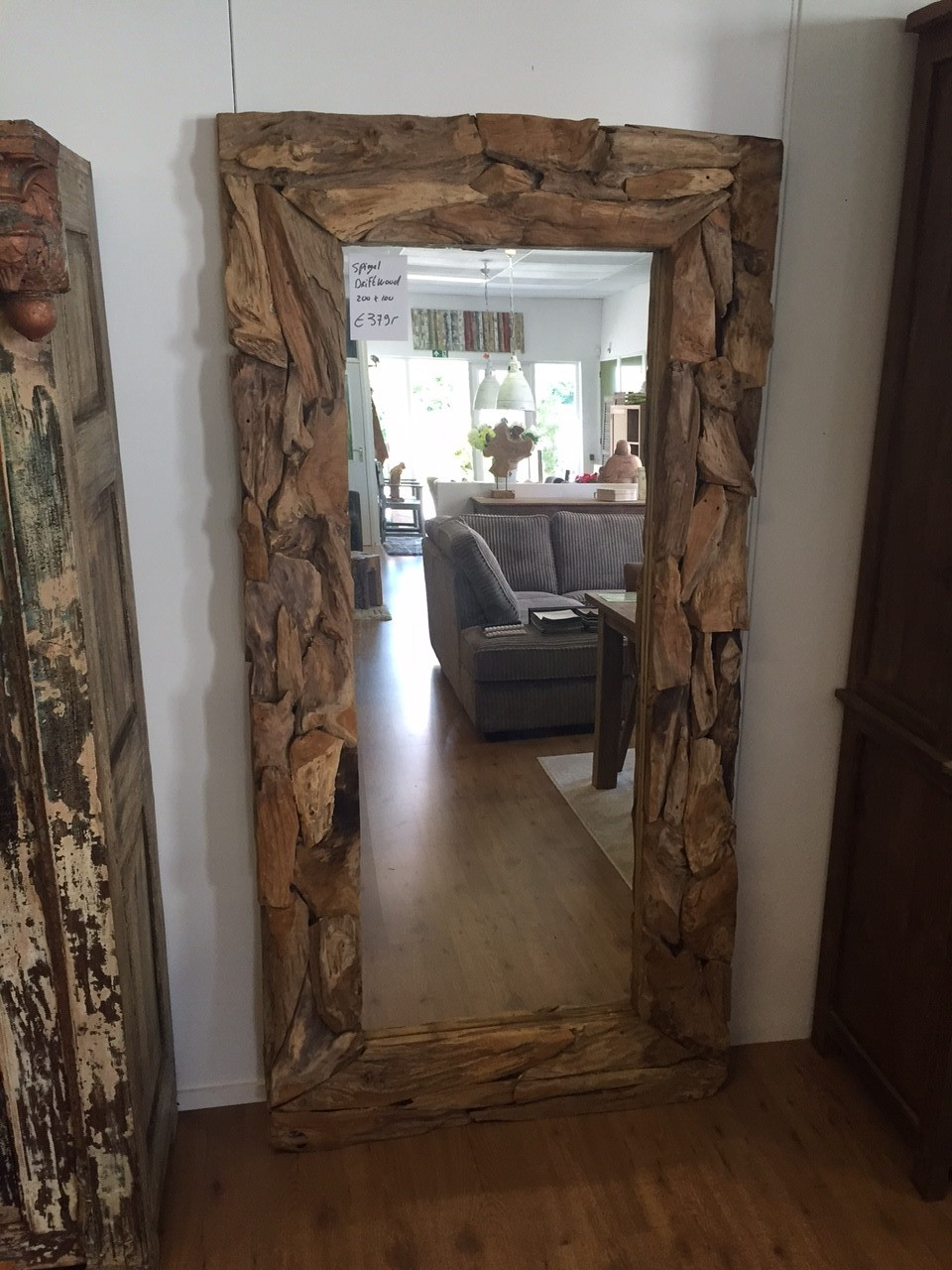 Grote Spiegel Hout.Stoere Grove Teak Spiegels
