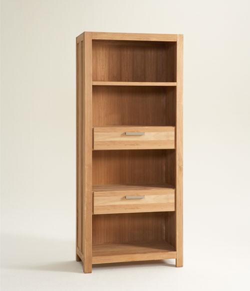Grote boekenkast geborsteld teak 85 cm. breed