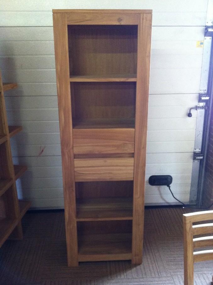 Ondiepe boekenkast 60b/190h/32d TEAK