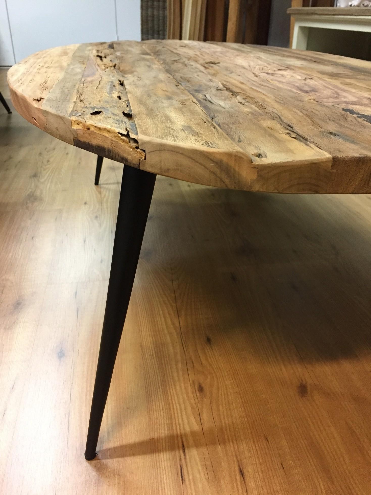 Ovale salontafel verweerd oud hout staal for Bureau 130x70