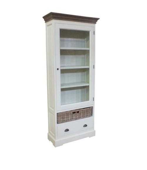 Witte boekenkast met glasdeur en Teak Top