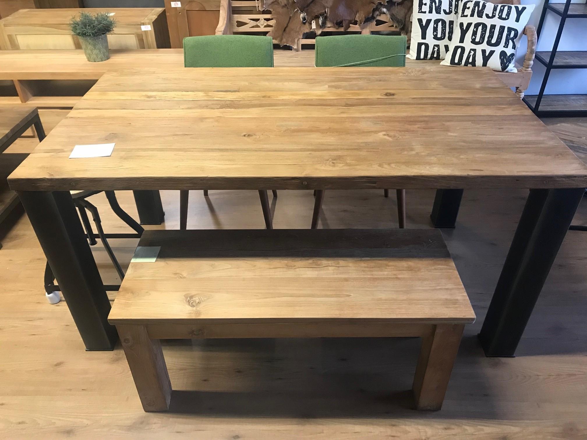 Tafel Stalen Poten : Tafel met sloophout breed tafelblad met losse stalen poten